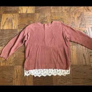 Forever 21 Pumpkin Colored Sweater with Lace Trim